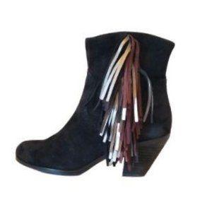 Sam Edelman Louie Fringe Ankle Boots 6 Suede
